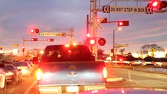 Railroad crossing and train Stock Footage