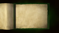 Old blank green book with flipping pages_2 - stock footage