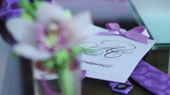 bride's bouquet - groom's posy - stock footage