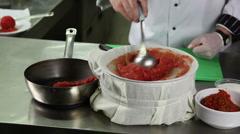 Lyutenitsa dressing filter tomato sauce skin love apple peel boiled tomato ch Stock Footage
