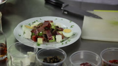 Salad paper mashrooms tomato bacon ham white cheese yellow cheese parsley foo Stock Footage