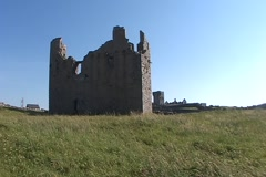 Castle Ruins - Inis Oirr-Side WS Stock Footage