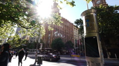 Melbourne CBD Collin St and Swanston St - With Trams Crossing Stock Footage