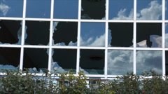 Closeup broken glass panes Stock Footage