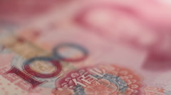 Chinese Yuan bank notes close up - stock footage