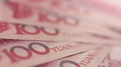 Fan of Chinese Yuan notes - stock footage