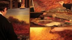 Painter paints a picture of a landscape Stock Footage