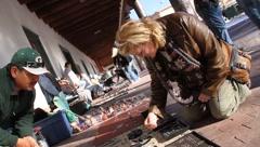 Native American Street Vendors 1 Stock Footage