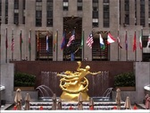 Stock Video Footage of Statue of Prometheus at 30 Rockefeller Plaza, New York GFSD