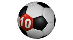 rotating soccer ball countdown loop with alha matte - stock footage
