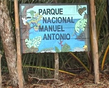 Manuel Antonio National Park, sign, billboard Stock Footage