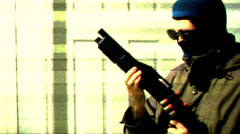 t311 terrorist robber robbery security cam camera - stock footage