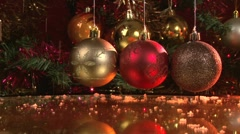 Four New Year's balls with snow Stock Footage