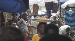 Africa: busy outdoor market in Lomé, Togo - stock footage
