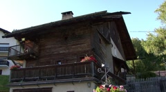 Farmhouse and Fountain Engadin Switzerland Stock Footage