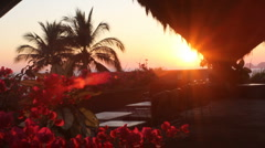 Sunset shining through a palapa Stock Footage