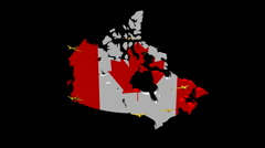 Stock Video Footage of planes departing Canada map flag illustration