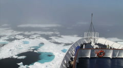 Icebreaker Moving through Ice in the Arctic Stock Footage