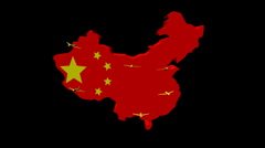Stock Video Footage of planes departing China map flag illustration