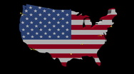 Stock Video Footage of planes departing USA map flag illustration