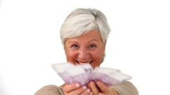 Mature woman proud of what she earned Stock Footage