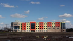 Editorial: Time Lapse of Building in Primary Colors in Houston, TX Stock Footage