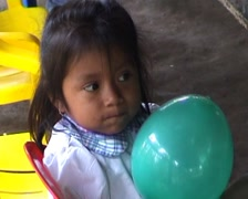 School in jungle, child with balloon Stock Footage
