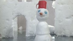Snowman - dolly left to right Stock Footage