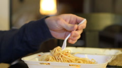 Man Eating Take Out Stock Footage