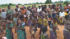 Africa: dancing and singing to drums - stock footage