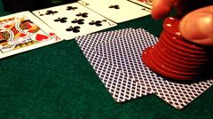 Poker hesitant drop Stock Footage
