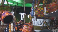 Africa: colorful handbags sold in Lomé, Togo Stock Footage