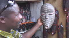Africa: outdoor market vendor in Lomé, Togo - stock footage