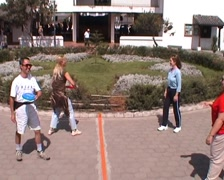 Frisbee throwing on equator Stock Footage