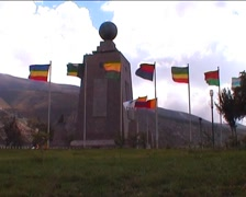 Mitad del Mundo, globe monument and flags Stock Footage