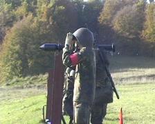 Soldier firing anti tank weapon - stock footage