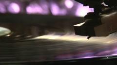 Record pleyer, violet light Stock Footage