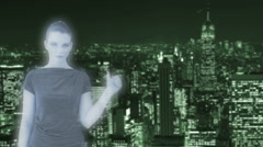 Hologram woman counting to three Stock Footage