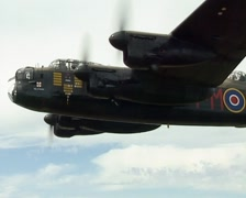 Avro Lancaster Bomber. Rare Air To Air Footage of PA474 Stock Footage