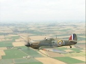 Stock Video Footage of Hawker Hurricane LF363 (Mk IIc). Rare air to air footage