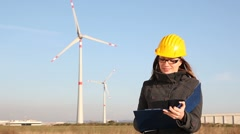Thumbs Up for Wind Power Generation  - stock footage