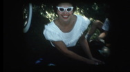 Stock Video Footage of Glam mom in sunglasses at 1958 family picnic