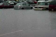 Flooded Parking Lot Stock Footage