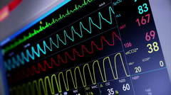 Simulated Heart Monitor Screen Stock Footage