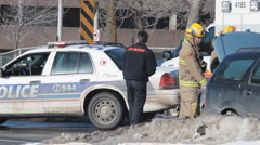 First Responders At A Car Crash On A City Street Ottawa Canada Stock Footage