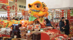 Chinese New Year Store Display Of Products To Celebrate The New Year Stock Footage