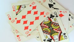 Pack of playing cards - stock footage