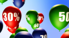 Balloons Sale Percents (Loop) - stock footage