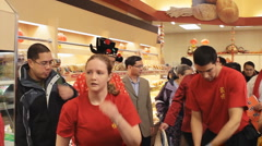 Drummer At A Chinese New Year Dragon Dance In A Supermarket Stock Footage