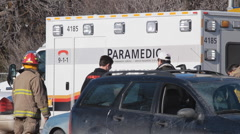 Emergency Paramedic Vehicle At Traffic Accident - stock footage